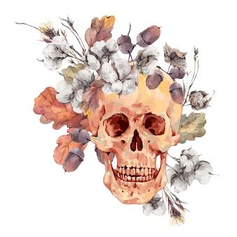 Schedel en takjes, katoenen bloem, geel eikenbladeren