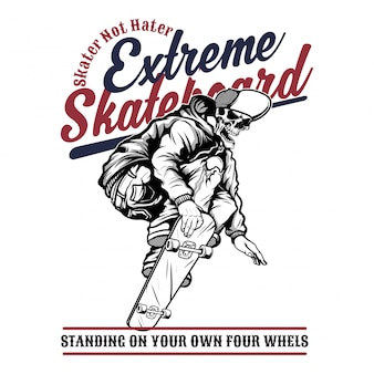 Schedel extreem skateboard, handtekening