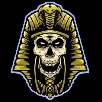 Schedel farao met gouden helm hoofd mascotte ontwerp logo ontwerp Premium Vector