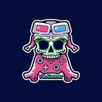 Schedel gamer illustratie moderne stijl sticker