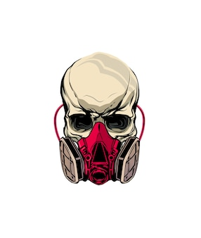 Schedel gasmasker dragen