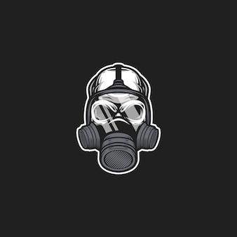 Schedel gasmasker kunstwerk