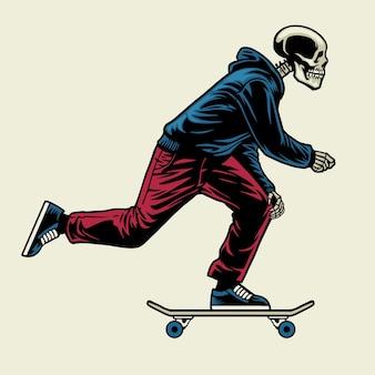 Schedel genieten van ride-skateboard