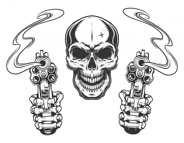 Schedel gericht met twee revolvers