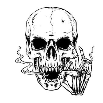 Schedel gerookte sigaret illustratie