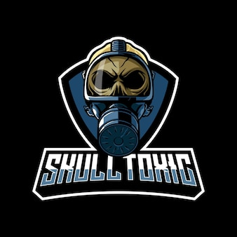 Schedel giftige mascotte logo afbeelding
