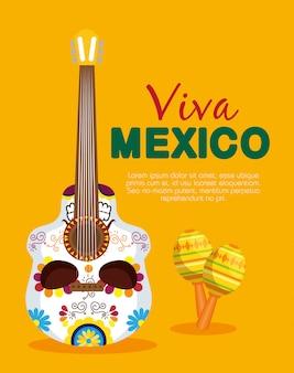 Schedel gitaarstijl met maracas tot evenement