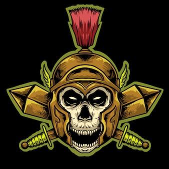 Schedel gladiator helm met zwaarden mascotte ontwerp logo mascotte illustratie