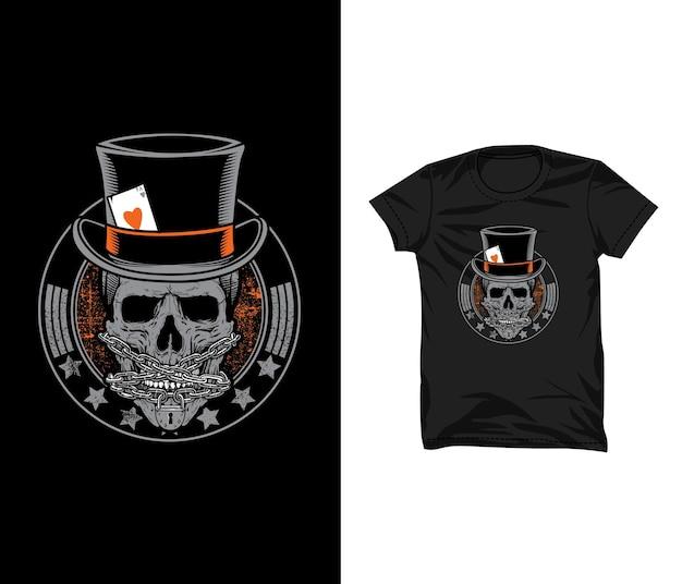 Schedel gokker illustratie t-shirt ontwerp