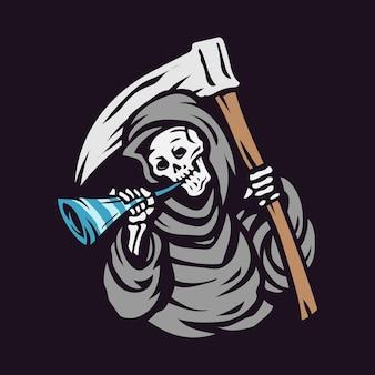 Schedel grim reaper blaast op de trompet en houdt het sikkellogo vast, gelukkig nieuwjaar vectorillustratie