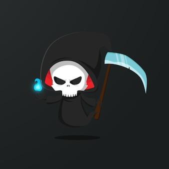 Schedel grim reaper karakter illustratie. gratis vector
