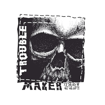 Schedel. hand getrokken illustratie met typfout voor t-shirt.