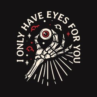 Schedel hand illustratie met oogbol vintage stijl op zwarte achtergrond