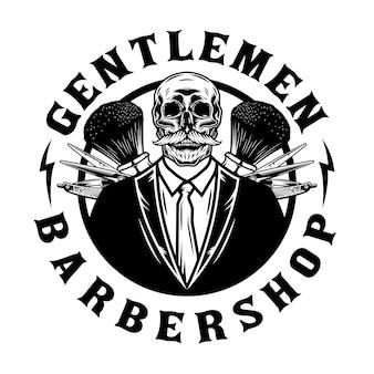 Schedel heren kapperszaak embleem met saloon tools