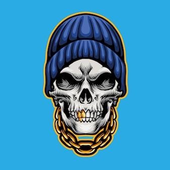 Schedel hoofd hip hop stijl
