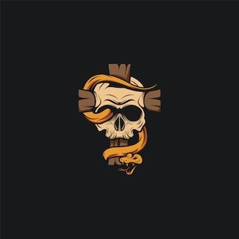 Schedel hoofd logo ontwerp ilustration