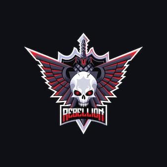Schedel hoofd logo ontwerp premium