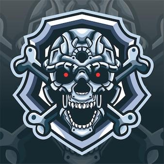 Schedel hoofd mecha mascotte. esport logo ontwerp