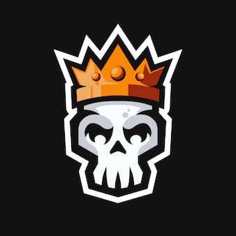 Schedel hoofd met koning kroon mascotte logo