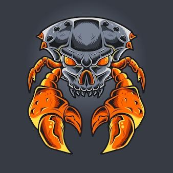 Schedel hoofd monster krab