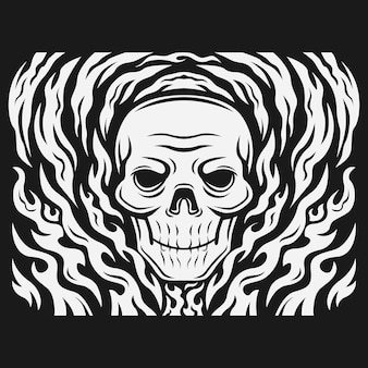 Schedel hoofd omringd door vuur vectorillustratie