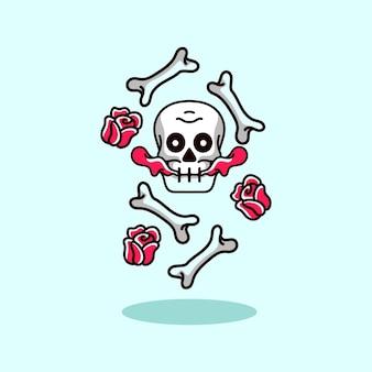 Schedel hoofd skelet met roos moderne stijl