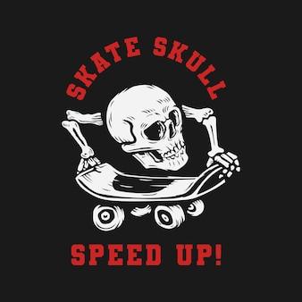 Schedel hoofd spelen skateboarden logo.