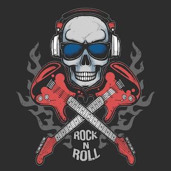 Schedel hoofdtelefoon muziek partij met gitaar brand rock n roll kunstwerk