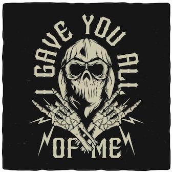 Schedel in bandana en hoodie met skelet handen