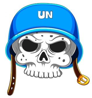 Schedel in blauwe helm op witte achtergrond