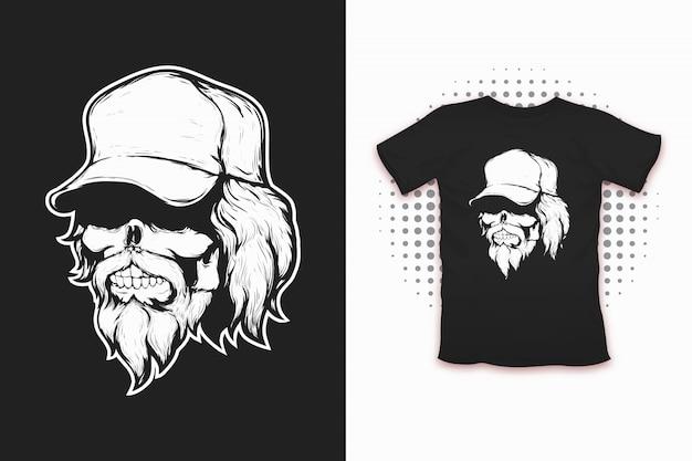 Schedel in cap print voor t-shirt