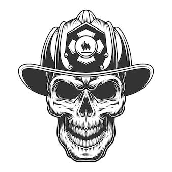 Schedel in de brandweer helm