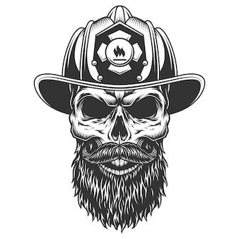 Schedel in de brandweer hoed