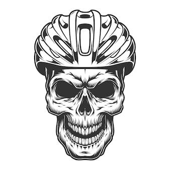 Schedel in de fietshelm