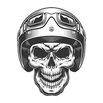 Schedel in de moto-helm