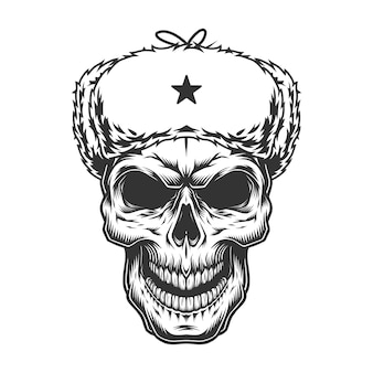 Schedel in de ushanka hoed