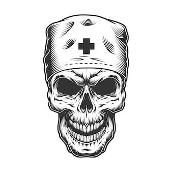 Schedel in het masker van de arts