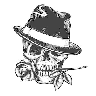 Schedel in hoed met roze bloem