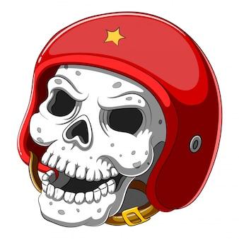 Schedel in rode helm op witte achtergrond