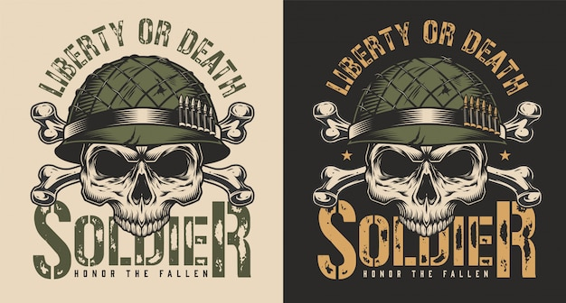 Schedel in soldaat helm t-shirt print concept