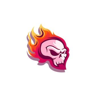 Schedel in vlammen logo