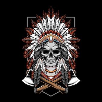 Schedel indiaan met bijl