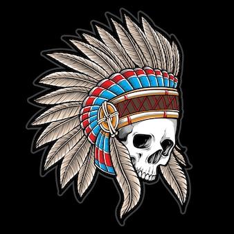 Schedel indiaan met hoofdtooi