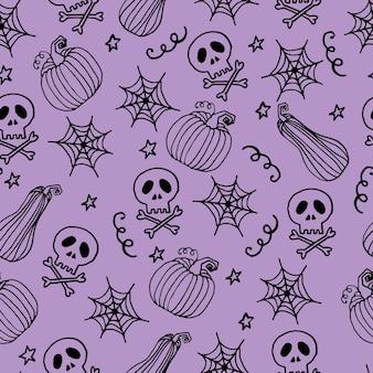 Schedel instellen. naadloze patroon met platte ontwerp van schedels op de donkere achtergrond. vector illustratie