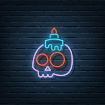 Schedel kaars neon sign vector elementen