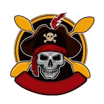 Schedel kajak logo sjabloon