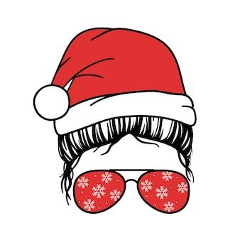 Schedel kerstman enge kerst schedel horror kerst vectorillustratie