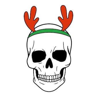 Schedel kerstman hertengewei enge kerst schedel horror kerst vectorillustratie