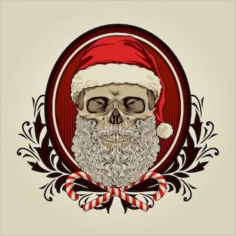 Schedel kerstman met vintage ornamenten