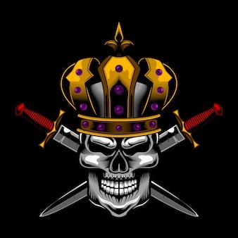 Schedel koning zwaard vector